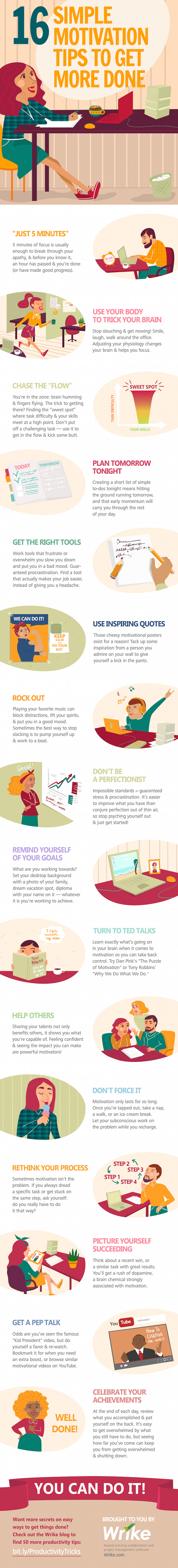 16 Simple Motivation Tips to Get More Done (Infographic)