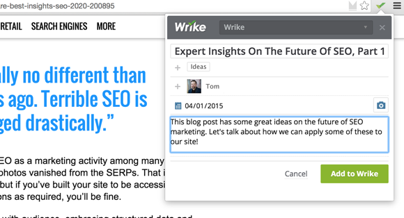 Three Ways to Wrike It Down with Wrike's Google Chrome Extension