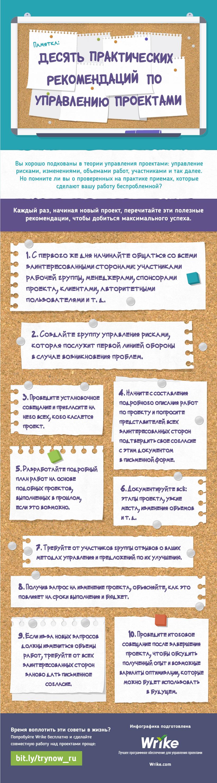 Десять практических рекомендаций по управлению проектами (#инфографика)