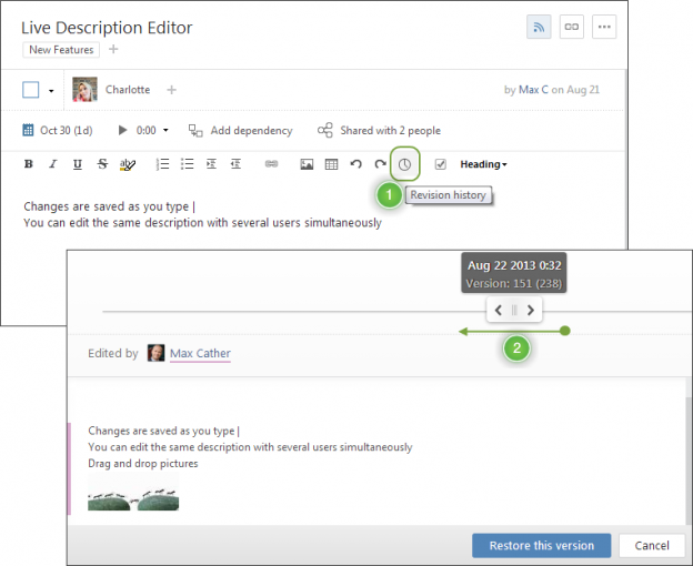 Wrike's Live Editor means you can stop manually tracking changes.