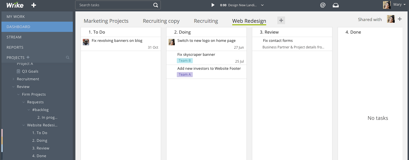 How To Create a Kanban Board in Wrike Using Custom Statuses & Dashboard Widgets