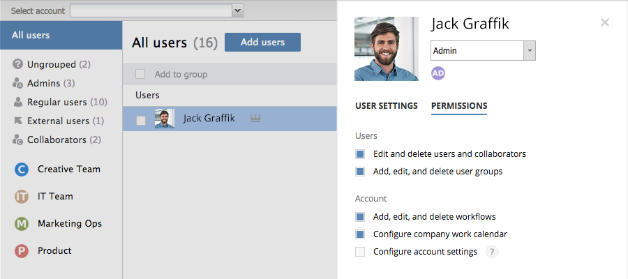 Controlled admin permissions is one of 3 new Wrike Enterprise security features