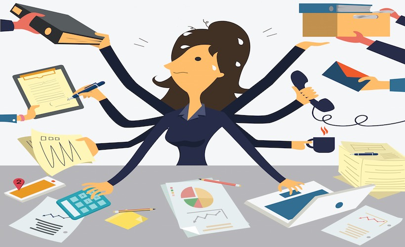 Businesswoman working with eight hands, representing to very busy business concept.