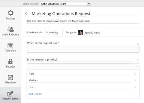 Marketing Operations Request Form