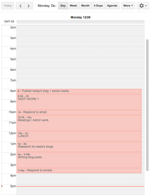 Time management calendar example using Google Calendar