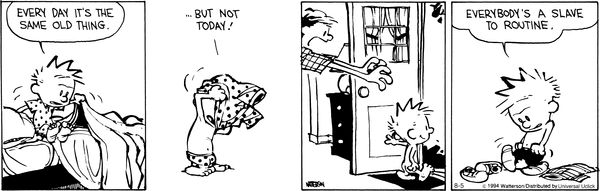 Calvin & Hobbes on routines