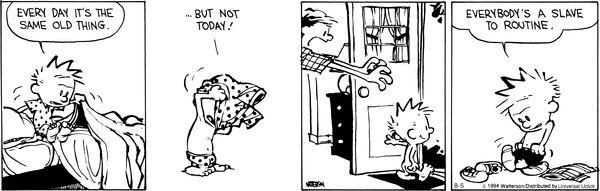 Calvin und Hobbes über Routinen