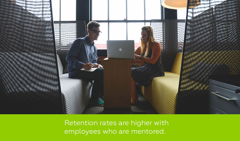 Retention is higher with employees who are mentored