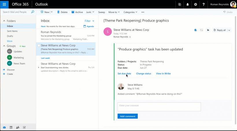 Wrike renforce l'intégration de Microsoft Office 365 avec Outlook Actionable Messages