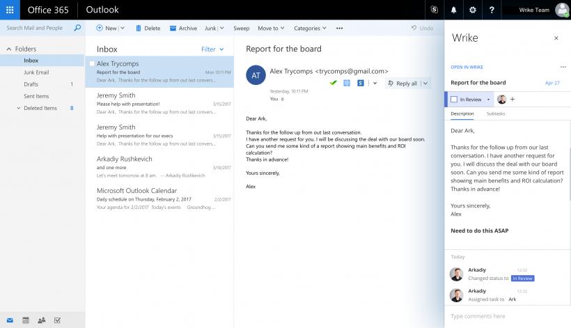 Eine Wrike-Aufgabe, die mit unserem Outlook Add-In aus Informationen in einer E-Mail erstellt wurde, und die in einem Fenster neben dieser E-Mail bearbeitet werden kann.