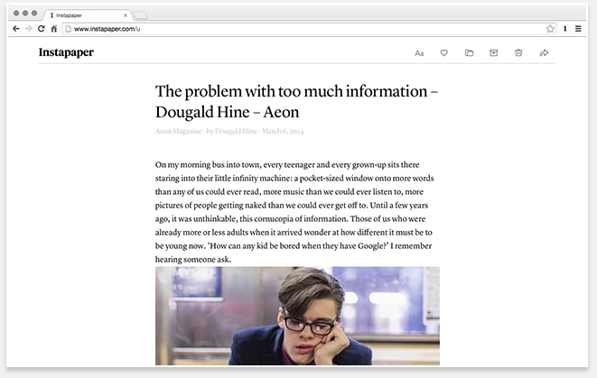 Instapaper - 51 Chrome Browser Extensions to Amplify Your Productivity