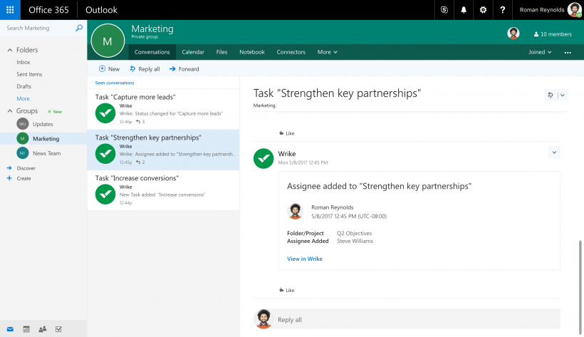 Уведомление Wrike, отправленное с помощью коннектора в дискуссию группы Office 365 в Outlook.