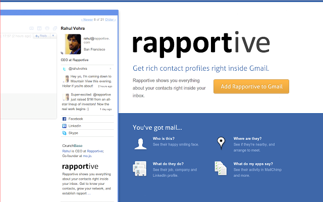 Rapportive - 51 Chrome Browser Extensions to Amplify Your Productivity