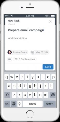 App de Wrike para iOS - pantalla de creación de tareas - app para móvil de Wrike