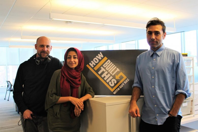 Ramtin Arablouei (R) with fellow NPR producers Casey Herman (L) and Rund Abdelfatah (Middle). Photo by Robyn Park/NPR.