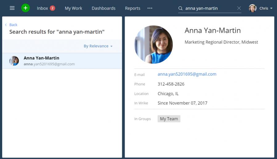 Nuevas funciones de búsqueda y colaboración más rápidas: busca rápidamente a miembros del equipo y ponte en contacto con ellos