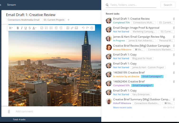 new integrated search & collaborate faster - show more recent tasks