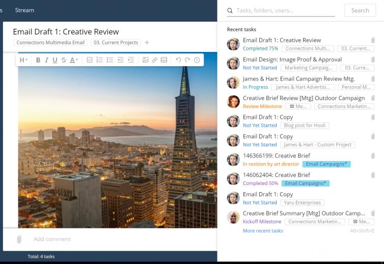 nuevas funciones integradas de búsqueda y colaboración más rápidas: mostrar tareas más recientes