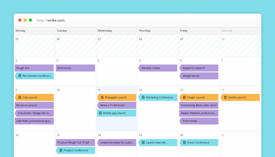 Nouveaux Calendriers Wrike: une vision d'ensemble en temps réel de votre entreprise