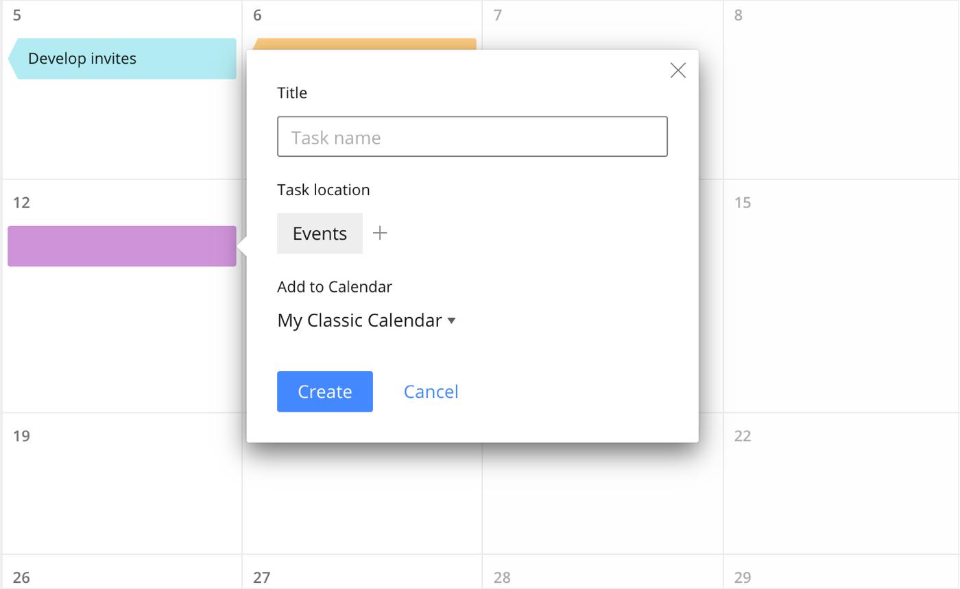 Таймлайн календаря Wrike