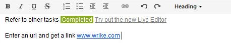 Wrike Live Editor - embeded tasks