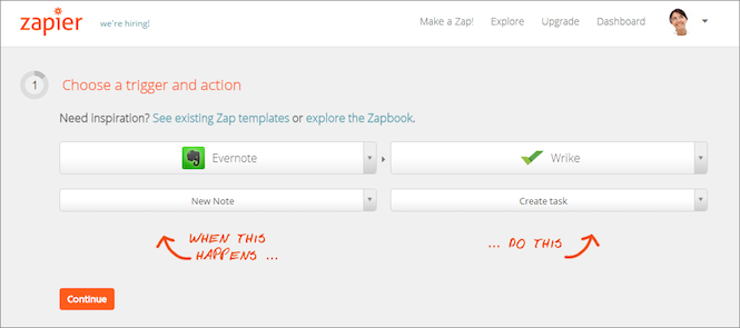Link Evernote and Wrike with Zapier!