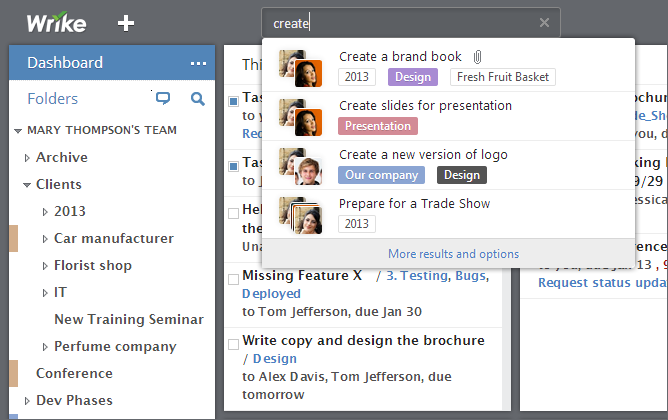 Find Tasks Quickly, Right from the Dashboard