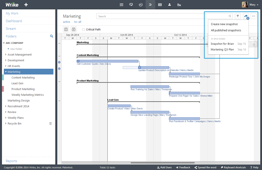 Timeline Snapshot: Share Project Plans and Status with Anyone