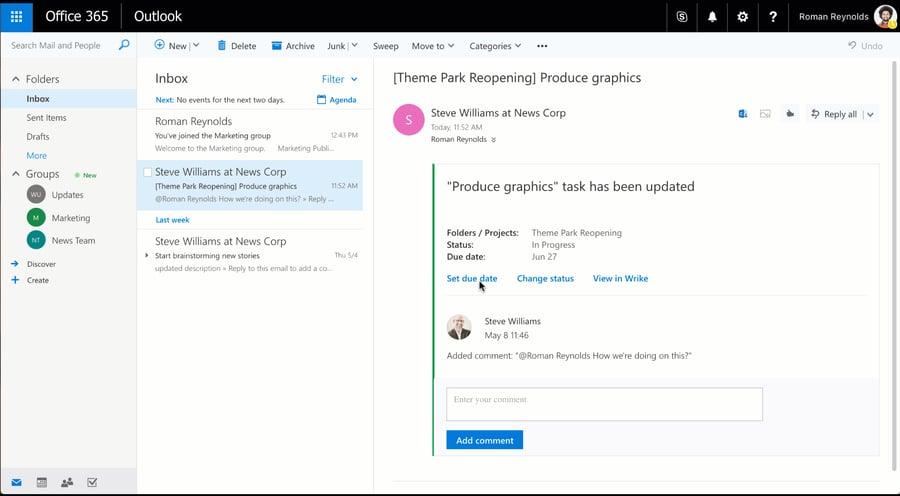 Intégration de Outlook Actionable Messages à Wrike