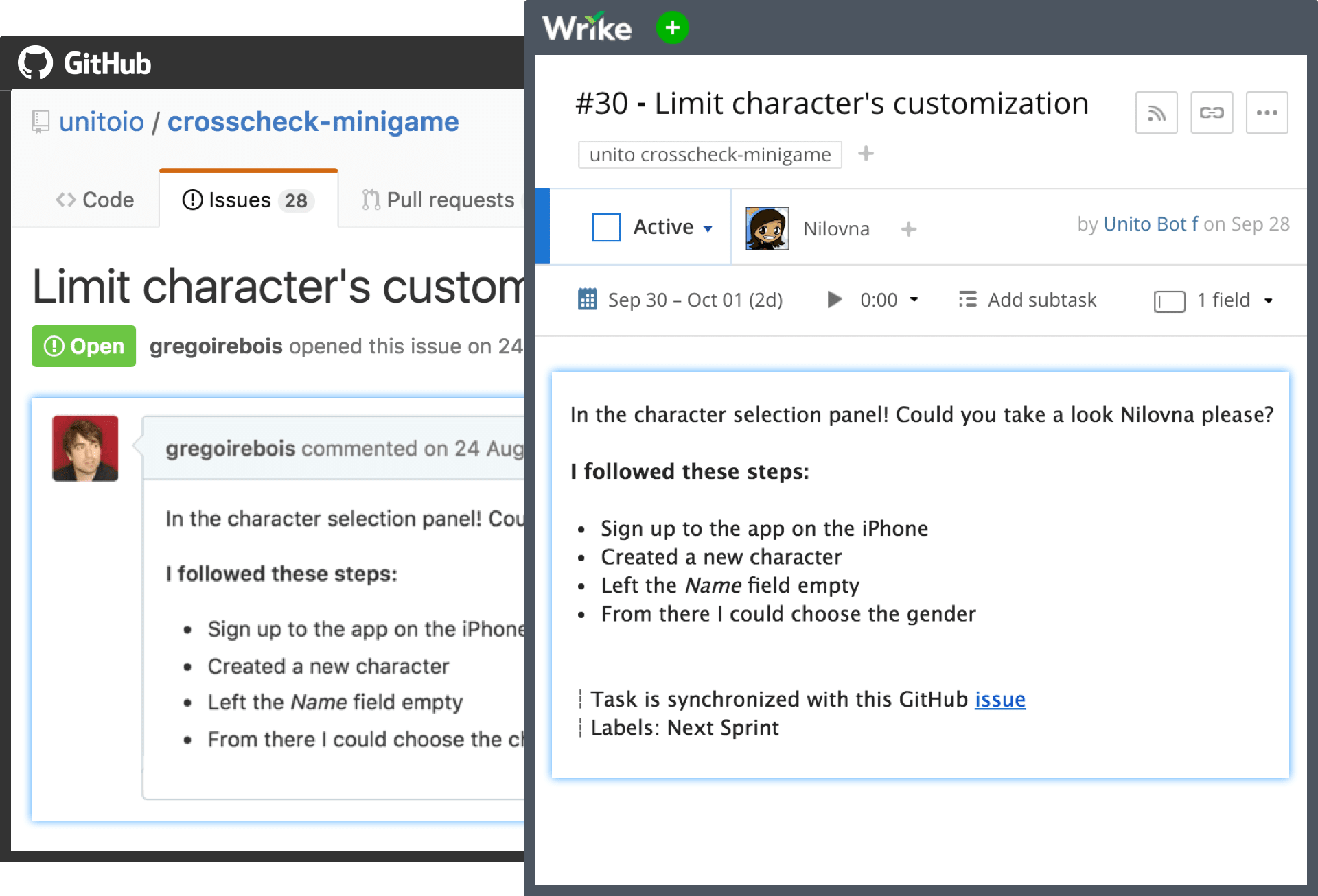 Create new issues in GitHub from within Wrike