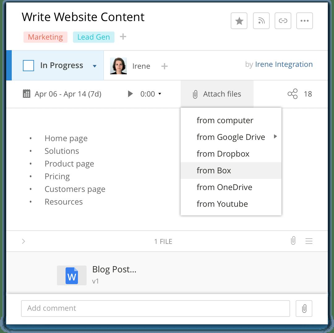 Wrike integration with Box