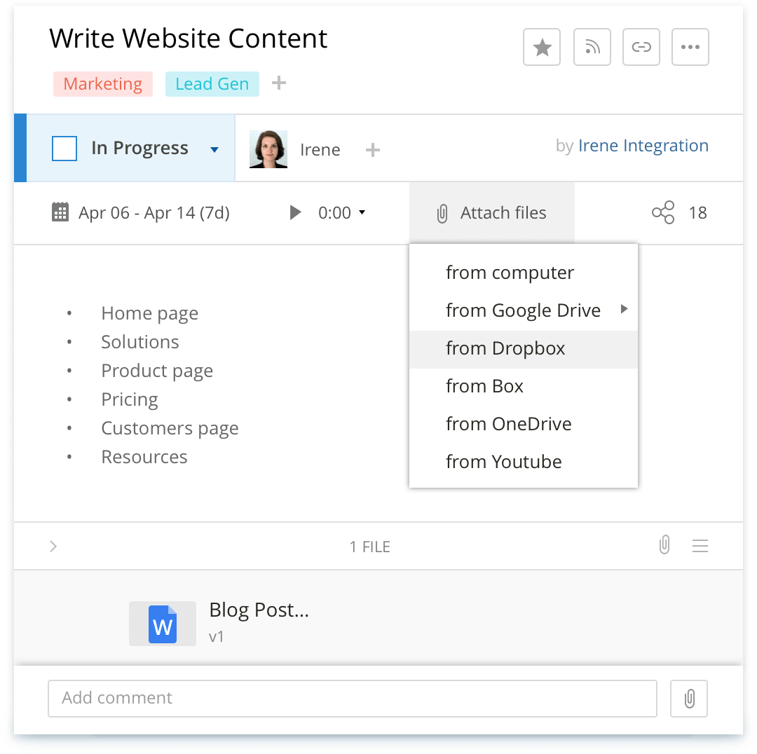 Wrike integration with Dropbox