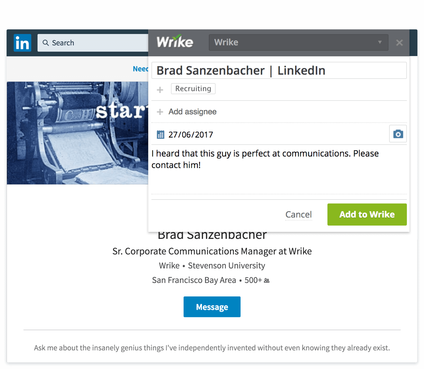 Wrike Integration With Linkedin