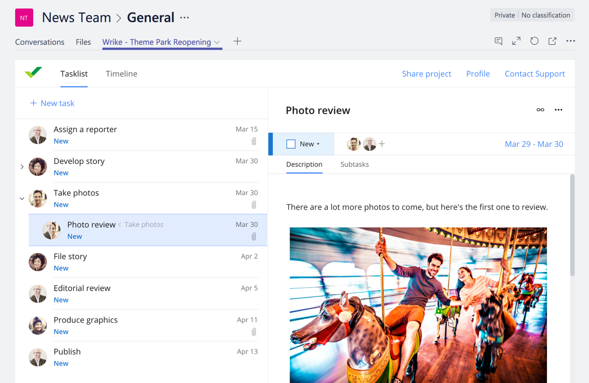 Wrike for Microsoft Teams