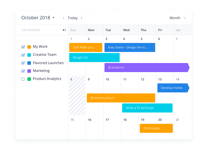 Filter calendars by project