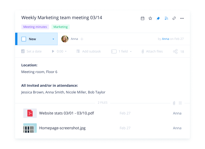 Actionable meeting notes